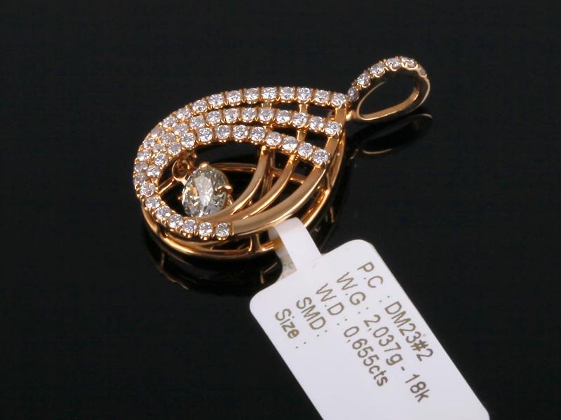 Mặt Dây kim cương thiên nhiên vàng hồng MK 363 1