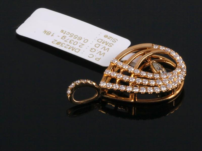 Mặt Dây kim cương thiên nhiên vàng hồng MK 363 2